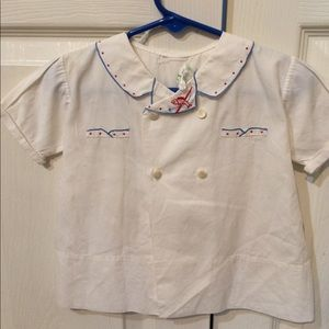 Vintage baby boy's hand embroidered top